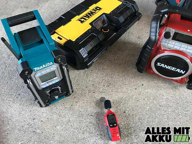 Baustellenradio Test Dewalt Lautstärke messen