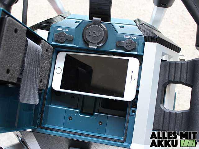 Baustellenradio Test Bosch GmL 50 Handyfach