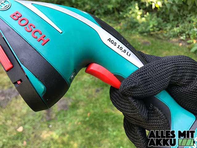 Bosch DIY Akku-Grasschere AGS Bedienung