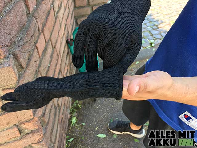 Akku Heckenscheren Test Handschuhe