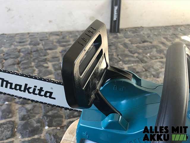 Akku Kettensäge Test Makita DUC353Z Kettenbremse