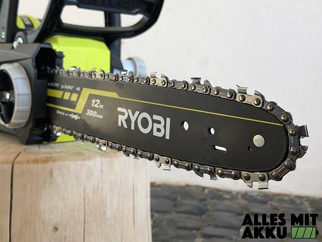 Akku Kettensäge Test Ryobi OCS1830 Schwert