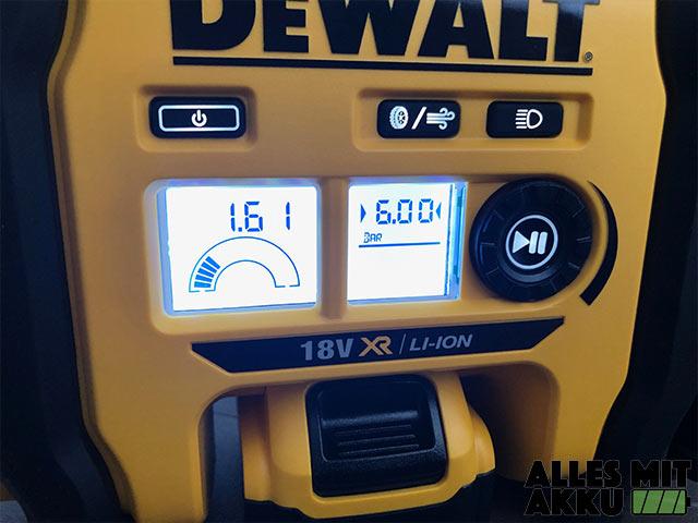 Akku Luftpumpen Test Dewalt DCC018N Bedienfeld