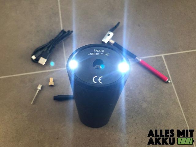 Akku Luftpumpen Test Audew 12V 150PSI Lampe