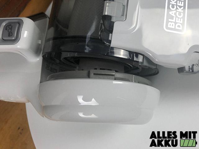 Black+Decker 18 V Litium Dustbuster Pivot Behälter geöffnet