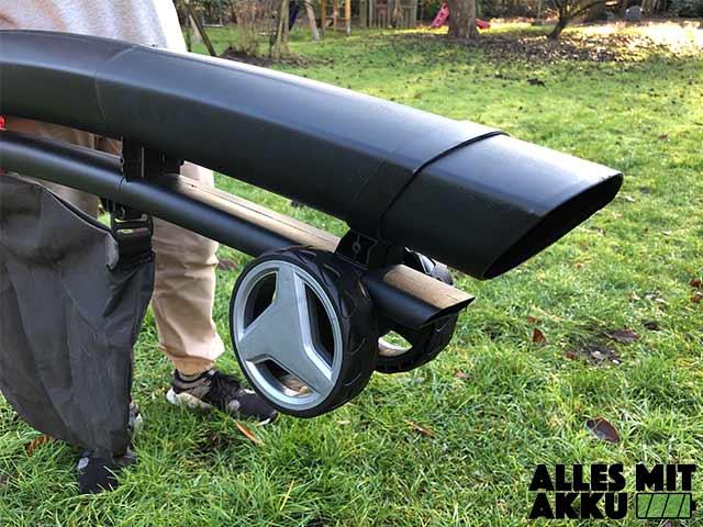 Akku Laubsauger Test Einhell GE-CL 36 Li E Solo Power X-Change Laufrollen