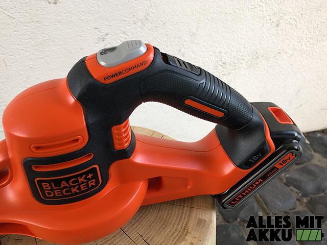 Akku Laubbläser Black+Decker GWC1820PC Griff