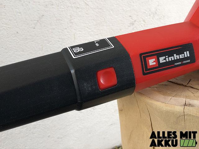 Akku Laubbläser Einhell GE-CL 18 Li E Set Power X-Change Entriegelung Rohr