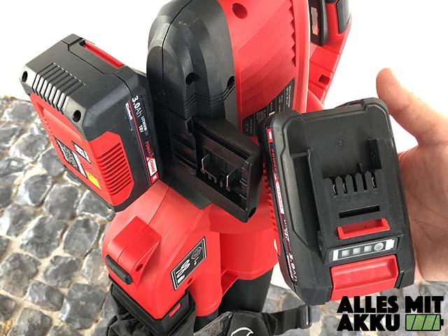 Akku Laubbläser Einhell GE-CL 36 Li E Solo Power X-Change Akku Aufnahme