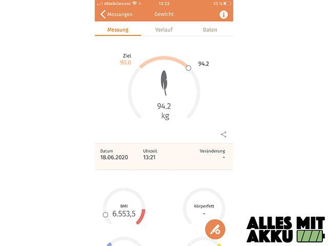 Beurer BF 105 Body Complete App Gewicht
