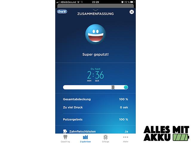 Elektrische Zahnbürste Test - App Zusammenfassung