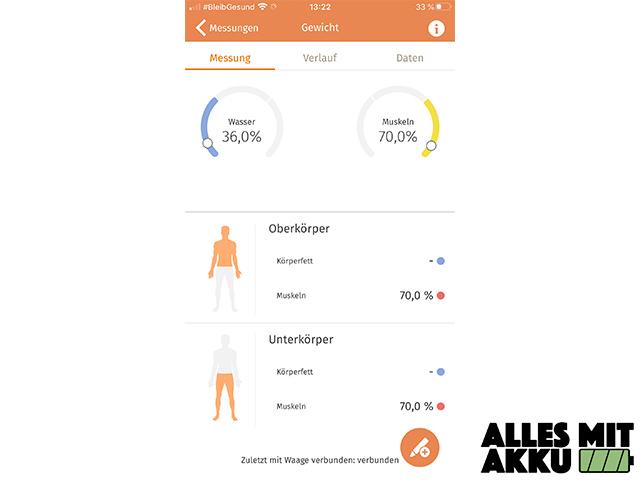 Körperfettwaage Test - App Anteile