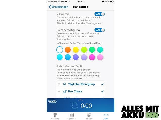 Oral-B Genius 10000N - App Einstellungen
