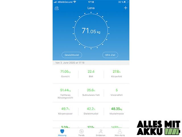 Renpho Körperfettwaage - App Daten
