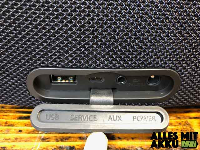 Bluetooth Lautsprecher Test - Anschlüsse geschützt