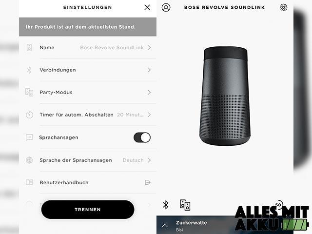 Bose SoundLink Revolve Test - App