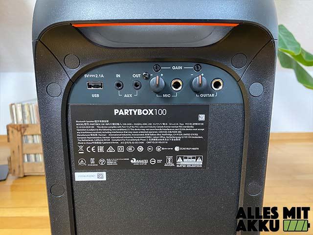 JBL PartyBox 100 Test - Rückseite