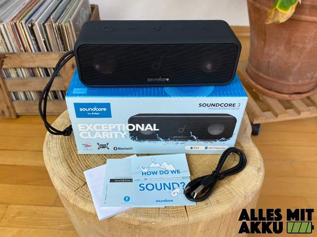 Anker SoundCore 3 Test - Lieferumfang