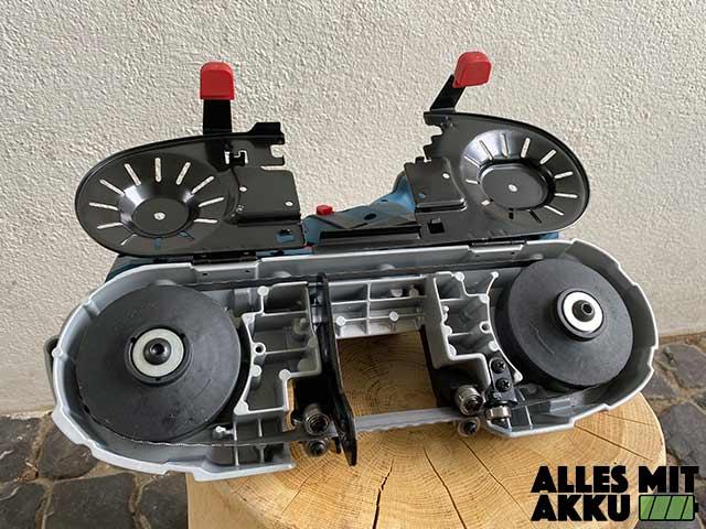 Bosch Akku Bandsäge GCB-18V-63 Test - Unten offen